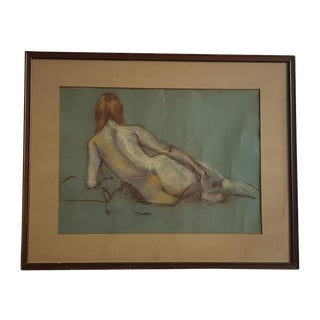 Rear View Nude Pastel Drawing For Sale