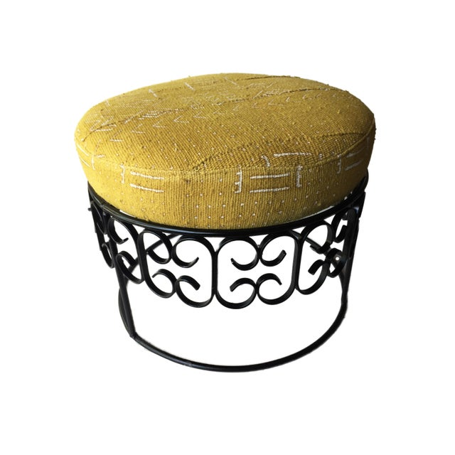 Fer Forge Round Ottoman W/Mustard /White Mud Cloth For Sale - Image 4 of 8
