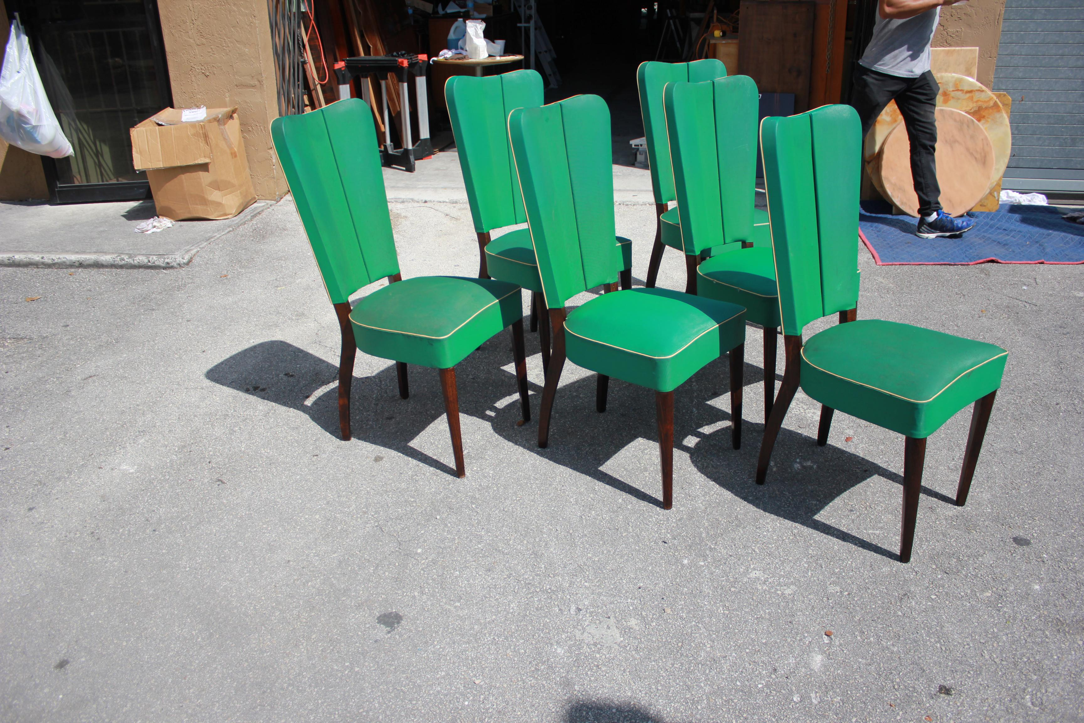 Jules Leleu Style French Art Deco Solid Mahogany Dining Chairs   Set Of 6    Image
