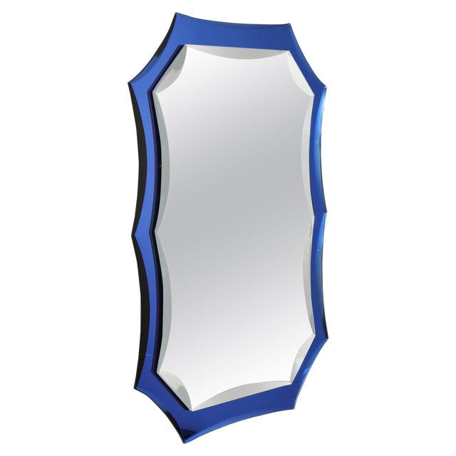 Vintage Mid-Century Modern Mirror With Cobalt Blue Borders For Sale
