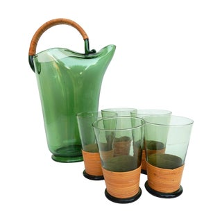 Mid-Century Green Glass Pitcher & Five Glasses