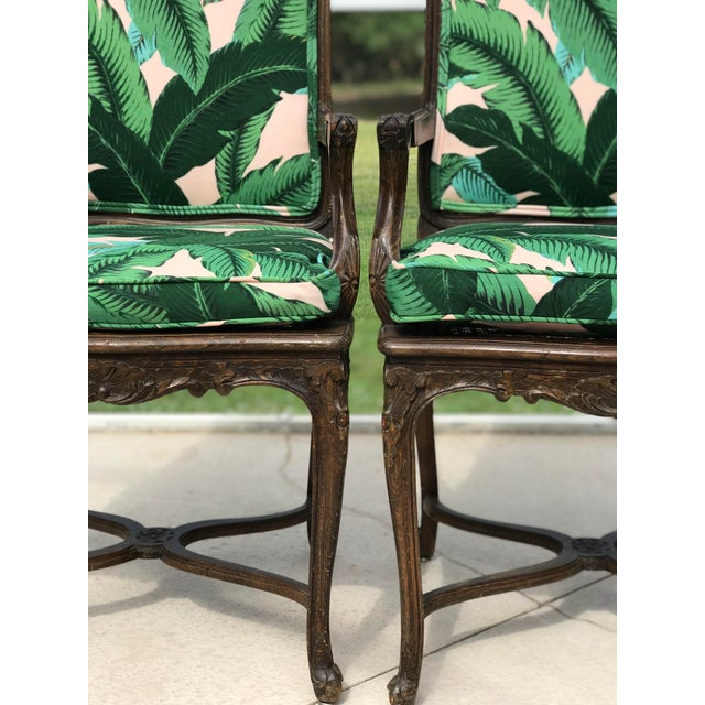 Vintage Coastal Regency Custom Upholstered French Carved Chairs-A Pair For Sale - Image 4 of 13