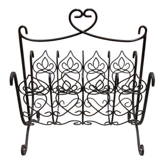 1970s Shabby Chic Wrought Iron Rattan Magazine Rack For Sale