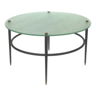 Cocktail Table With Glass Top in the Manner of Gio Ponti For Sale