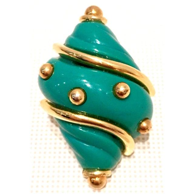 Enamel 20th Century Kenneth J Lane Gold & Enamel Snail Form Earrings For Sale - Image 7 of 11
