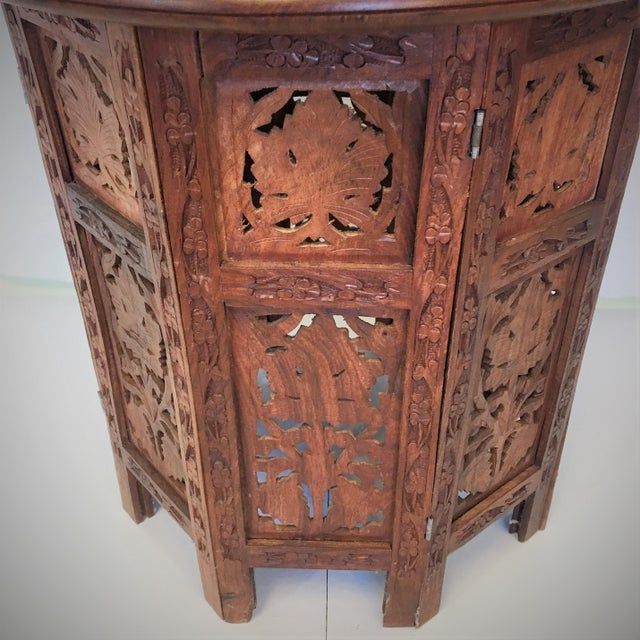 Hand Carved Anglo-Indian Folding Tables - A Pair For Sale - Image 5 of 5