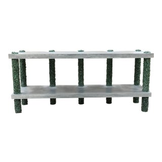 Hand Made Dark Green Aventurine and Poured Grey Cement Console, by Samuel Amoia For Sale