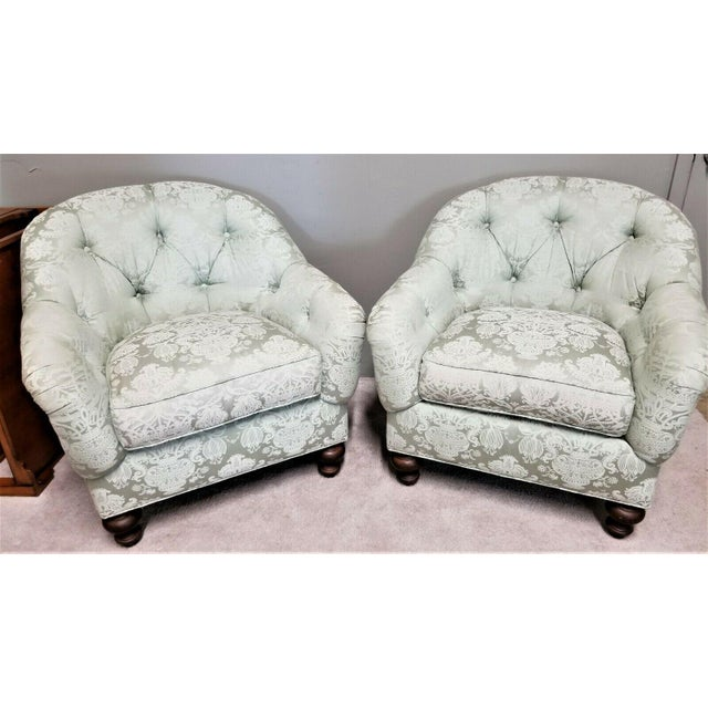 Drexel Heritage Upholstery Collection Damask Tufted Barrel Club Armchairs - Set of 2 For Sale - Image 9 of 9