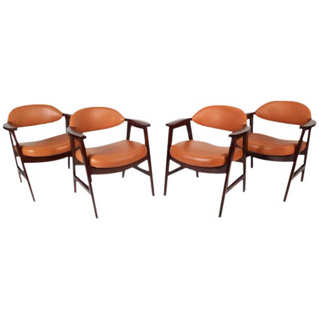 Mid-Century Modern Vinyl Dining Chairs - Set of 4 For Sale