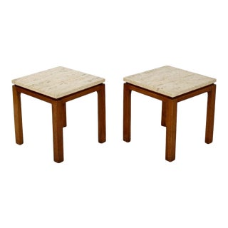 Mid Century Modern Harvey Probber Pair Square Travertine Side End Tables 1960s For Sale