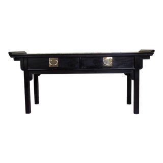 1980s Chinoiserie Century Furniture Chin Hua Black Asian Altar Console Table For Sale