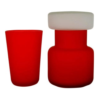 Italian Satin Glass Vessels, Set of 2 For Sale