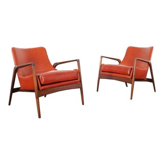Danish Modern Leather Lounge Chairs by Ib Kofod Larsen - a Pair For Sale