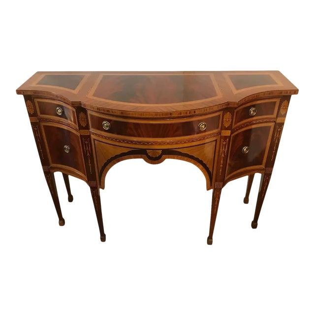 Mixed Wood Small Inlaid Regency Style Console Sideboard For Sale