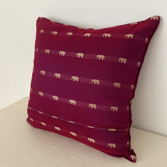 Magenta Thai Silk Pillow With Elephant Motifs For Sale In New York - Image 6 of 12
