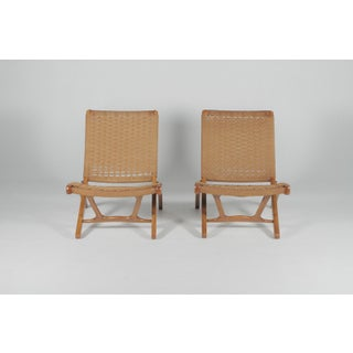 1960s Vintage Hans Wegner Style Folding Rope Lounge Chairs- A Pair Preview