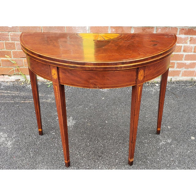 American Federal Inlaid & Figured Mahogany Demilune Games Table Rhode Island or Connecticut C1795 For Sale - Image 13 of 13