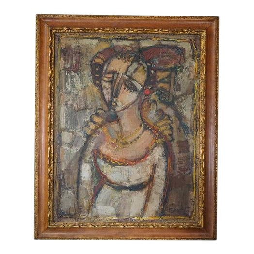 Vintage Ukrainian Abstract Oil Painting of a Woman For Sale