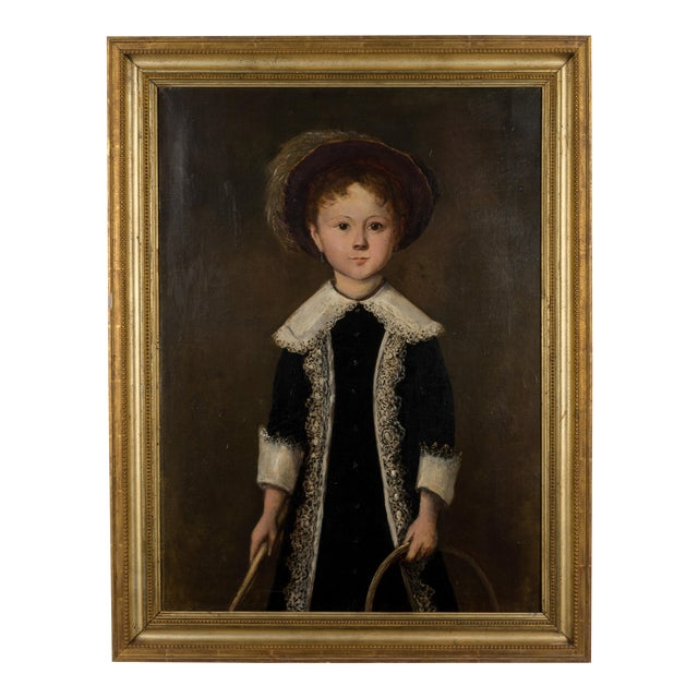 19th Century French Portrait of a Young Girl Oil Painting For Sale