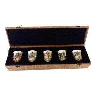 Japanese Tea Cup Set in Box, Set of 5 For Sale
