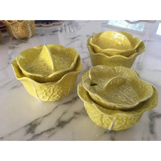 Hollywood Regency Vintage Secla Yellow Cabbage Bowls- Set of 3 For Sale - Image 3 of 12