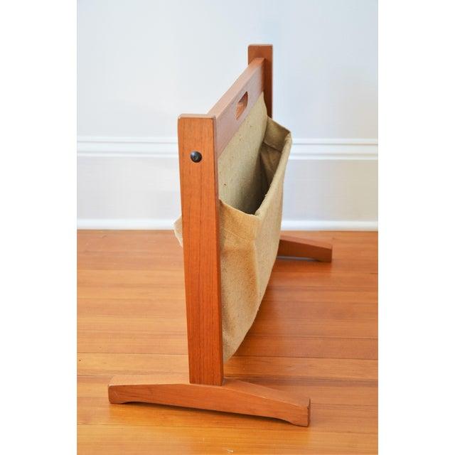 Wood Brdr Furdo Danish Modern Teak and Linen Double Magazine Rack For Sale - Image 7 of 12
