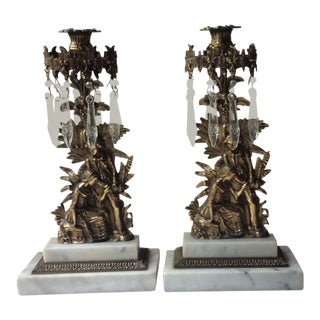 Late 19th Century Antique French Empire Gilded Bronze and Mable Candle Holders - A Pair
