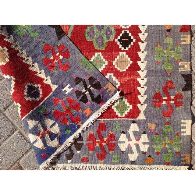 Textile VIntage Turkish Kilim Rug - 3′7″ × 6′1″ For Sale - Image 7 of 7