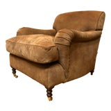 Image of George Smith Brown Suede Chair For Sale