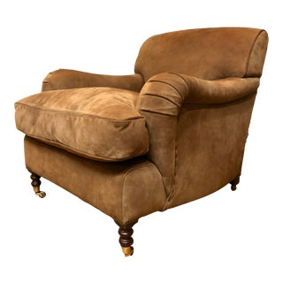 George Smith Brown Suede Chair For Sale
