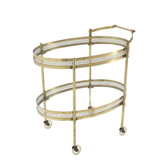 Oval Pierced Brass & Glass Two-Tier Tea Serving Cart on Wheels For Sale