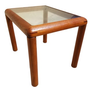 Danish Modern D-Scan Teak and Glass Top Side Table For Sale