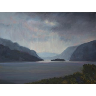 Storm Coming Up the Hudson Painting, Framed For Sale