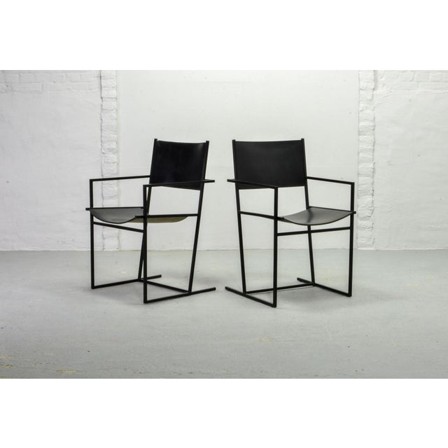 Set of Two Mid-Century Dutch Design Black Leather and Metal Dining Chairs Ag-6 by Albert Geertjes, the Netherlands, 1984 For Sale - Image 6 of 11