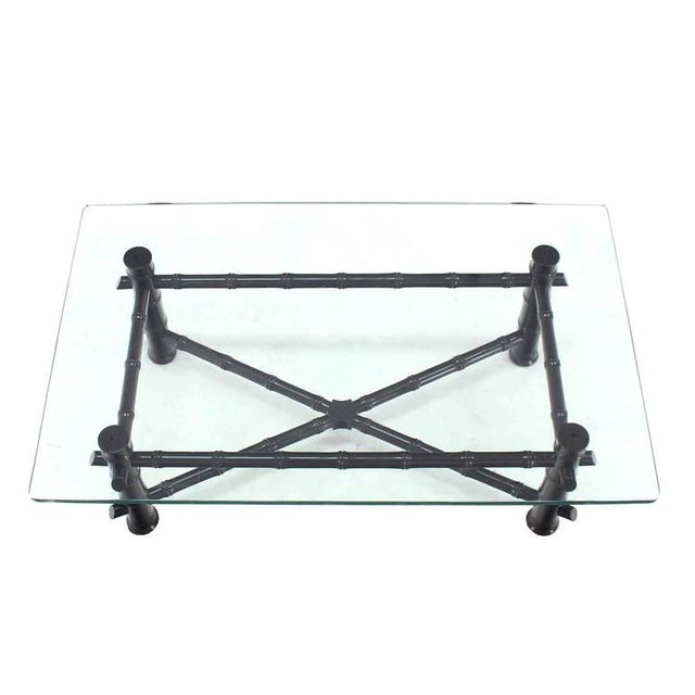 Mid-Century Modern Faux Bamboo Black Lacquer Glass Top Coffee Table For Sale - Image 3 of 7
