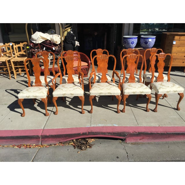 Burl Mahogany Chippendale Style Dining Chairs - Set of 10 - Image 12 of 12
