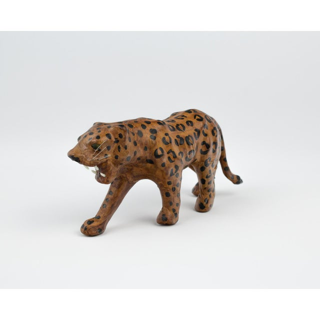 1970s Vintage Hand Painted Leather Leopard Figure For Sale - Image 5 of 13