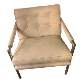 Vintage Mid Century Modern Harvey Probber Style Aluminum Base Leather Club Chair For Sale