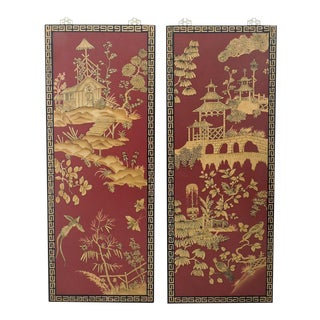 Decorative Oriental Red & Gold Wall Panels - Pair