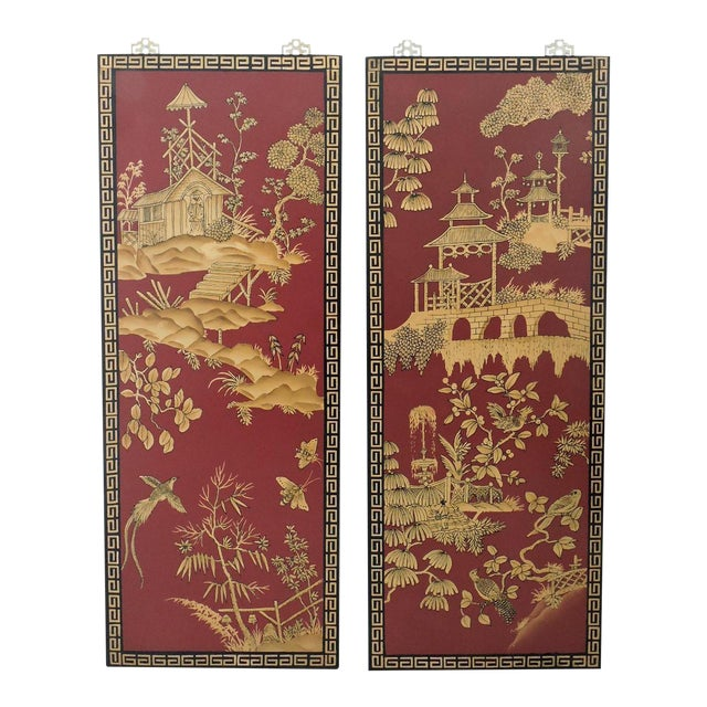 Decorative Oriental Red & Gold Wall Panels - Pair - Image 1 of 5
