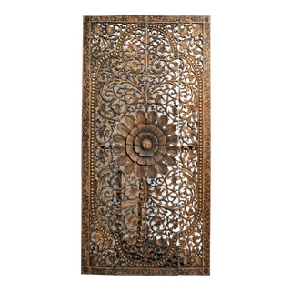 Southeast Asian Carved Teak Flower Panel For Sale