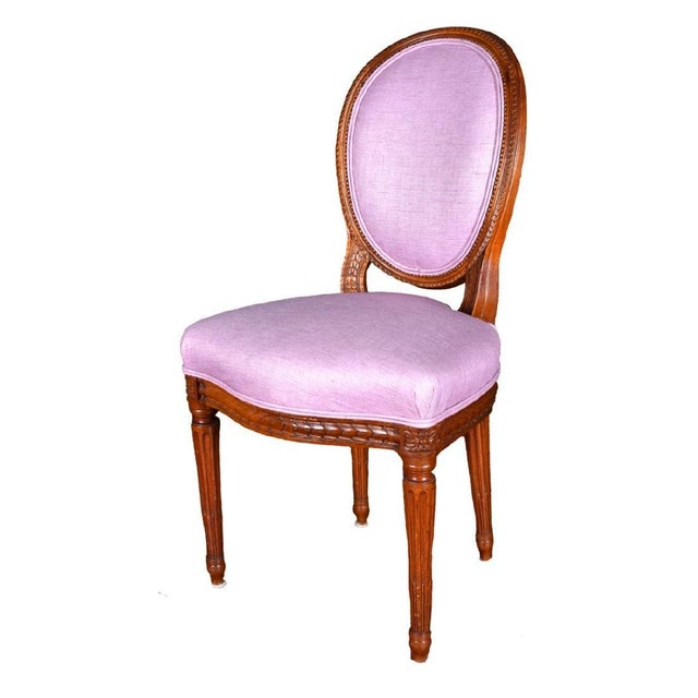 Four Louis XVI Pink Neoclassical Carved Wood Dining Chair Set of 4 - 19th Century France For Sale - Image 4 of 5
