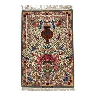 "Persian Isfahan Handmade Silk & Wool Rug -3' X 4'5"" For Sale"