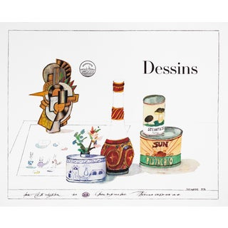 1974 French Saul Steinberg Exhibition Poster, Dessins (On Arches Paper) For Sale