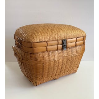Vintage Chinese Herringbone Weave Cane and Rattan Storage Trunk Preview