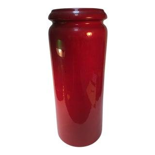 1960s W. German Scheurich Modernist Ceramic Red Lava Vase For Sale