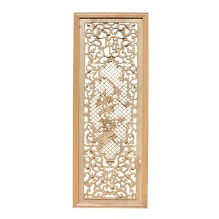 Chinese Rectangular Wood Flower Bird Carving Wall Panel Plaque For Sale