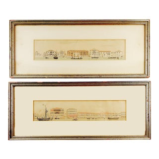 Antique Panoramic Harbor View Lithographs - a Pair For Sale