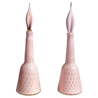 Alfredo Barbini Murano Pink Gold Flecks Italian Art Glass Perfume Decanters - a Pair For Sale