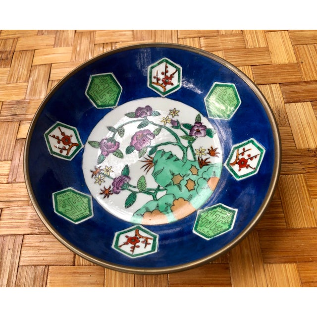 Blue 20th Century Chinese Floral Porcelain Catchall Dish For Sale - Image 8 of 10